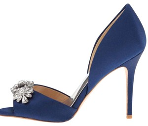 Badgley Mischka D'orsay Pump Wedding Heels Rhinestone Navy Formal