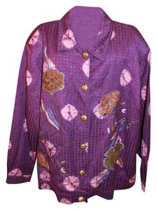 Indigo Moon Qvc Embellished Embroidered Bling Boho purple Jacket