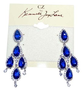 Kenneth Jay Lane KENNETH JAY LANE CZ Crystal Chandelier Drop Earrings Sapphire Blue