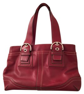 Coach Leather Vintage Satchel in red