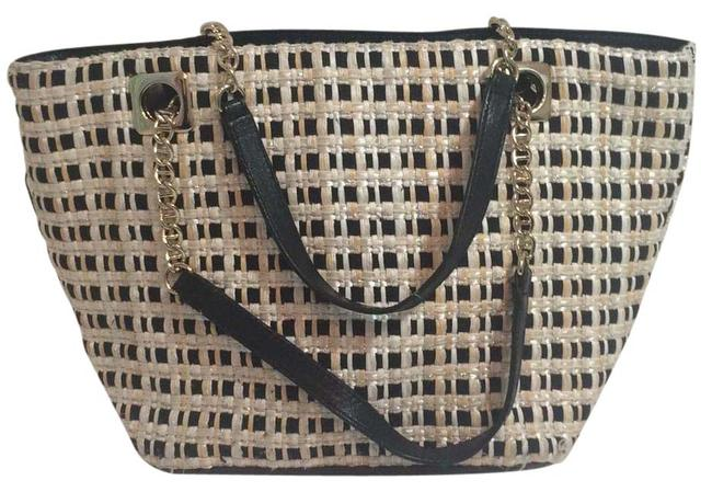 Kate Spade Print Pattern Leather Gold Chain Fabric and Metallic Ribbon Tote Kate Spade Print Pattern Leather Gold Chain Fabric and Metallic Ribbon Tote Image 1