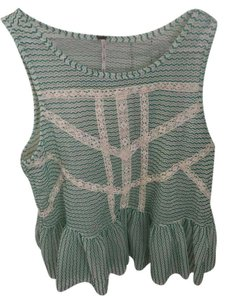 Free People Top Green and White
