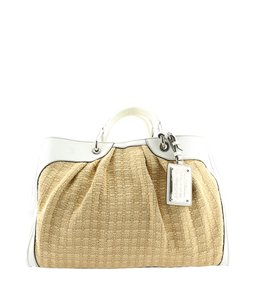Dolce&Gabbana D&g Leather Raffia Tote in White,Tan
