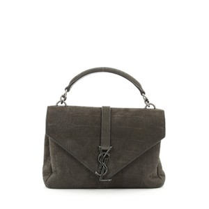 Saint Laurent College Crocodile Satchel