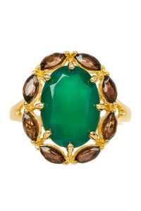 Savvy Cie 18K YELLOW GOLD VERMEIL GREEN ONYX & SMOKY QUARTZ COCKTAIL RING