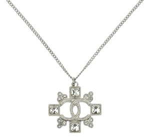 Chanel Chanel 2015 CC Logo Cross Silver Necklace