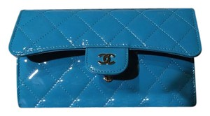 Chanel Chanel Blue Patent Leather Leather Wallet