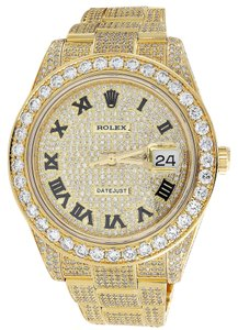 Rolex Custom Watch Rolex Date Just Flooded Genuine Diamonds 45 MM 15.50 CT.