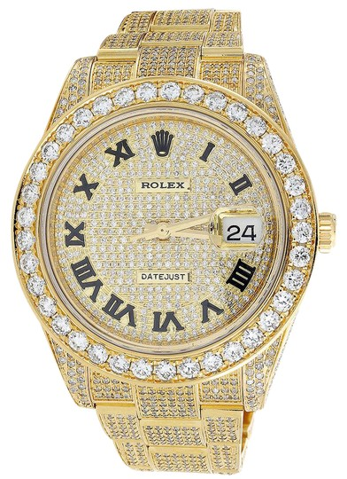 Preload https://img-static.tradesy.com/item/20928564/rolex-gold-custom-date-just-flooded-genuine-diamonds-45-mm-1550-ct-watch-0-1-540-540.jpg