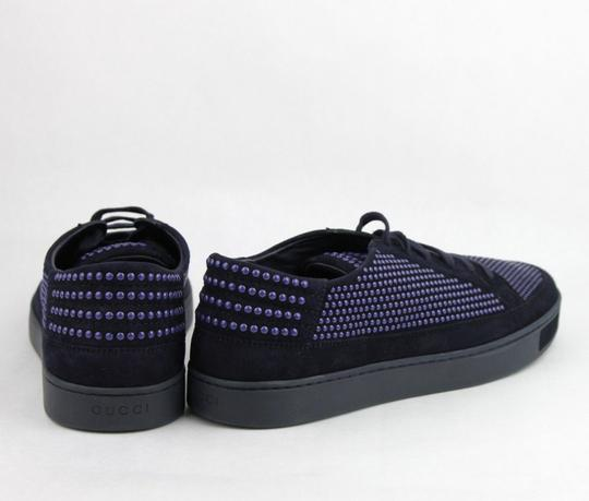 Gucci Dark Blue Suede Leather Bubble Studs Lace-up Sneaker 11g/ Us 12 391688 4018 Shoes Image 4
