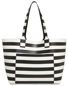 Kate Spade Reversible Leather Stripe Jones Street Tote in BLACK/ STRIPE