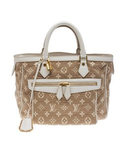 Louis Vuitton Monogram Canvas Leather White Satchel in White,Beige