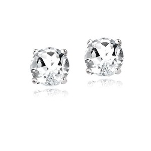 9.2.5 Gorgeous 2ct white topaz 18k white gold silver stud earrings