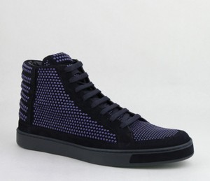 b8bbcf2effd Gucci Dark Blue Suede Leather Studs Lace-up Hi Top Sneaker 8.5g  Us