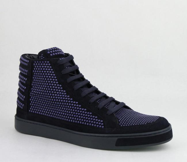 Gucci Dark Blue Suede Leather Studs Lace-up Hi Top Sneaker 9g/ Us 10 391687 4018 Shoes Gucci Dark Blue Suede Leather Studs Lace-up Hi Top Sneaker 9g/ Us 10 391687 4018 Shoes Image 1