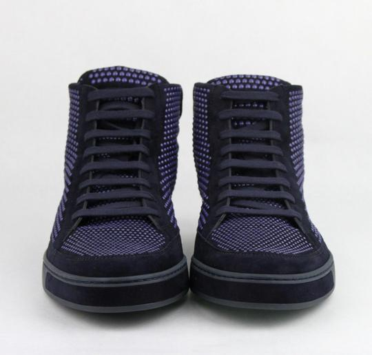 Gucci Dark Blue Suede Leather Studs Lace-up Hi Top Sneaker 9g/ Us 10 391687 4018 Shoes Image 2