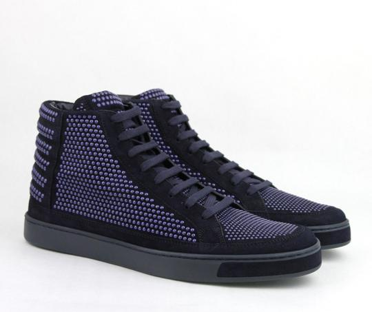 Gucci Dark Blue Suede Leather Studs Lace-up Hi Top Sneaker 9g/ Us 10 391687 4018 Shoes Image 3