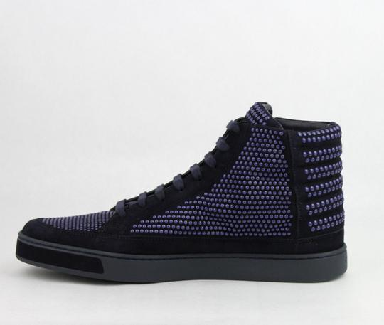 Gucci Dark Blue Suede Leather Studs Lace-up Hi Top Sneaker 9g/ Us 10 391687 4018 Shoes Image 6