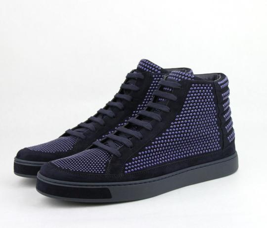 Gucci Dark Blue Suede Leather Studs Lace-up Hi Top Sneaker 10.5g/ Us 11.5 391687 4018 Shoes Image 1