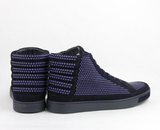 Gucci Dark Blue Suede Leather Studs Lace-up Hi Top Sneaker 10.5g/ Us 11.5 391687 4018 Shoes Image 4