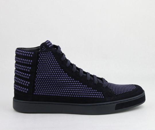 Gucci Dark Blue Suede Leather Studs Lace-up Hi Top Sneaker 11g/ Us 12 391687 4018 Shoes Image 5