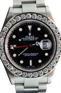 Rolex Diamond Rolex Explorer II Black Dial Stainless Steel Band 6Ct Bezel 40