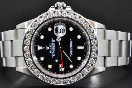 Rolex Diamond Rolex Explorer II Black Dial Stainless Steel Band 6Ct Bezel 40 Image 3