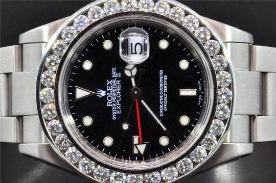 Rolex Diamond Rolex Explorer II Black Dial Stainless Steel Band 6Ct Bezel 40 Image 4