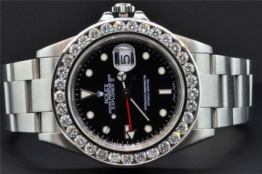 Rolex Diamond Rolex Explorer II Black Dial Stainless Steel Band 6Ct Bezel 40 Image 8