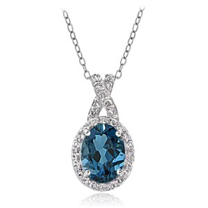 9.2.5 Amazing 3ct blue and white topaz royal queen necklace