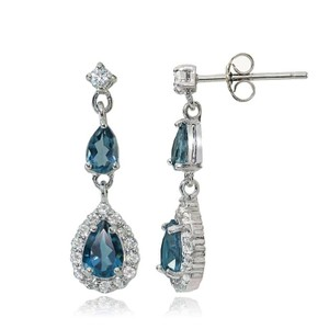 9.2.5 Amazing blue and white topaz royal princess earrings