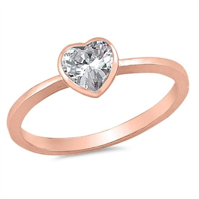 9.2.5 Rose Adorable White Topaz 14k Dipped Gold Heart Size 7 Ring 9.2.5 Rose Adorable White Topaz 14k Dipped Gold Heart Size 7 Ring Image 1