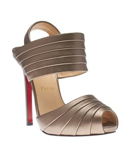 Christian Louboutin Grey Leather Bronze Sandals