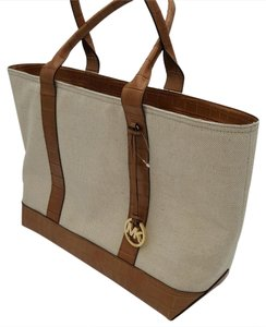 MICHAEL Michael Kors Brianne Leather Canvas Tote in ECRU