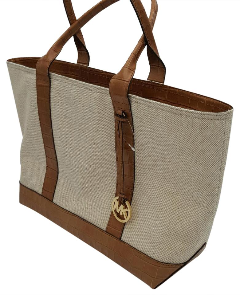13fcdeb7ae719 ... discount code for michael michael kors brianne leather canvas tote in  ecru 9ca82 dbb77