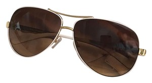 Tory Burch Tory Burch Aviator Sunglasses with white and gold frames