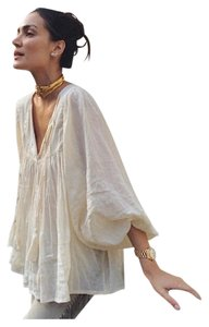 Anna Kosturova Boho Free People Spring Top Cream