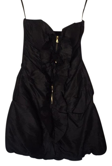 Item - Black Ruched Zip Front Ruffle Mini Strapless Short Night Out Dress Size 4 (S)
