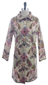 Others Follow Pink Blue Paisley Vinyl Coated Button Down Shirt Beige