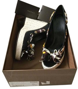 Gucci New In Box Espadrilles Black Wedges