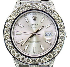 Rolex Mens New Rolex DateJust II Iced Out Flooded With Genuine Diamonds 30CT