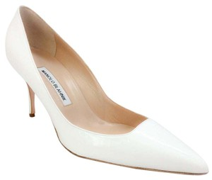 Manolo Blahnik white patent Pumps