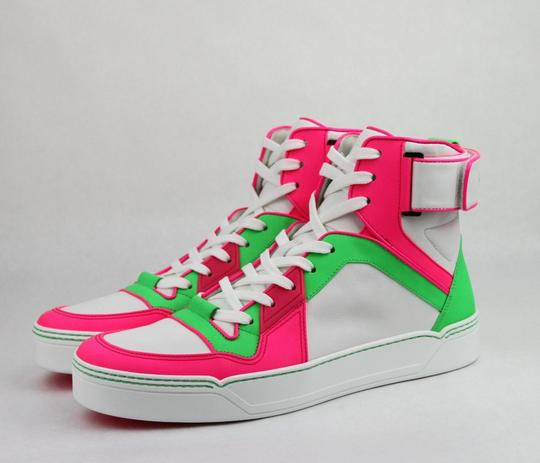 Gucci Green/Pink/White W Neon Leather High-top Sneaker W/Strap 8.5g/ Us 9.5 386738 5663 Shoes Image 1