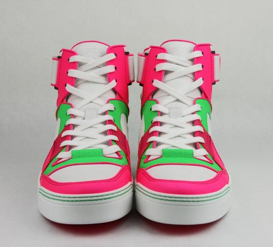 Gucci Green/Pink/White W Neon Leather High-top Sneaker W/Strap 8.5g/ Us 9.5 386738 5663 Shoes Image 2