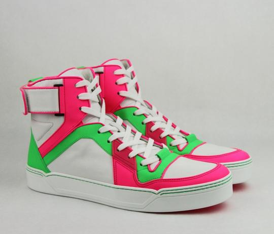 Gucci Green/Pink/White W Neon Leather High-top Sneaker W/Strap 8.5g/ Us 9.5 386738 5663 Shoes Image 3