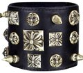 Chrome Hearts Black Leather Silver Studded