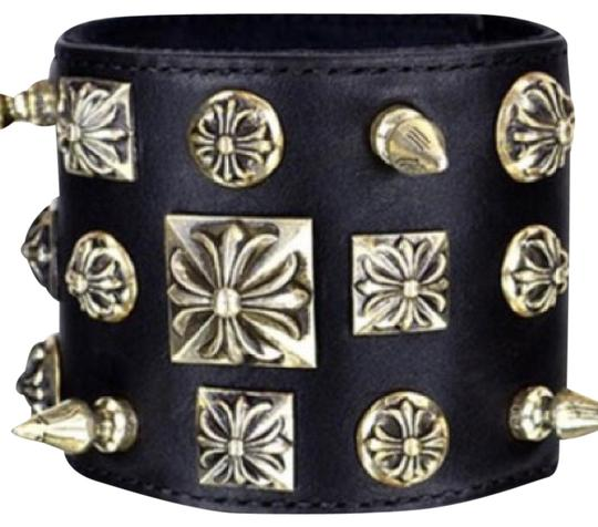 Preload https://img-static.tradesy.com/item/20929418/chrome-hearts-black-leather-silver-studded-disheveled-cuff-bracelet-0-1-540-540.jpg
