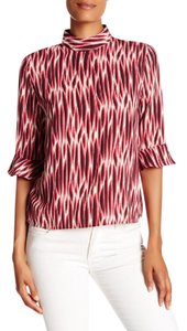 14th & Union Mock Neck Stripe Keyhole Top RED