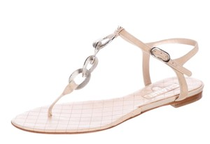 Chanel Interlocking Cc Logo Metallic Silver Hardware Chain Beige, Gold Sandals