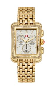 Michele New Deco Moderne II Diamond Gold Tone MOP Dial Rare Ladies Watch